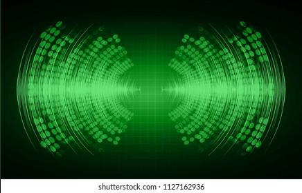 Sound waves oscillating dark green light, Abstract technology background. Vector.