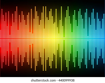 Sound waves oscillating dark green yellow red light, Wave Abstract technology background. eletronic wave