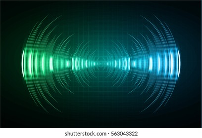Sound waves oscillating dark green blue light, Abstract technology background. Vector.
