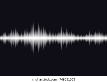 Sound waves oscillating dark light, Abstract technology background. Vector