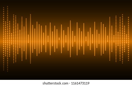 Sound waves oscillating dark orange light,  technology background. Vector. loudspeaker. ekg Heart wave, Pacemaker