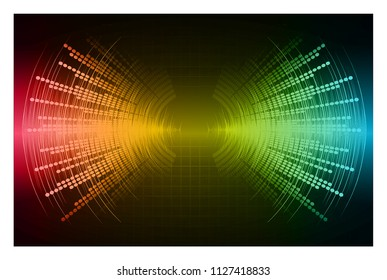Sound waves oscillating dark pink yellow blue light, Abstract technology background. Vector.