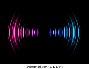 Sound waves oscillating dark pink blue light, Abstract technology background. Vector.