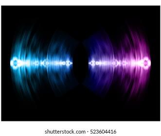 Sound waves oscillating dark purple blue light, Abstract technology background. Vector.