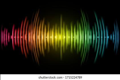 Sound waves oscillating dark yellow blue red light