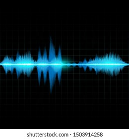 Sound waves oscillating glow blue light. Abstract technology background vector.
