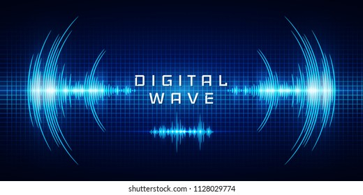 Sound waves oscillating glow light, Digital wave, Abstract technology background - Vector.