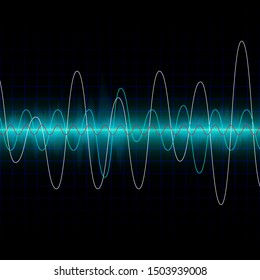 Sound waves oscillating glow light. Abstract technology background vector. Use for design content with music, sonic, analyze, digital, electric, background creative.