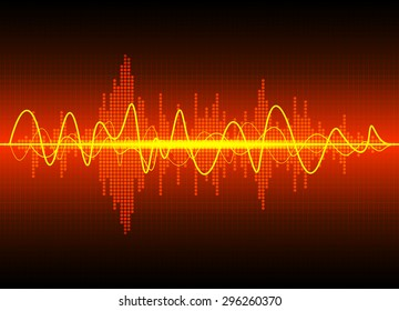 Sound waves oscillating glow light, Abstract technology background - Vector