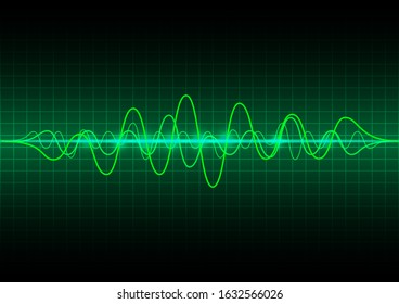 Sound waves oscillating . Green glow light frequency audio waveform on dark backdrop . Abstract wave voice graph signal, digital equalizer technology background - Vector