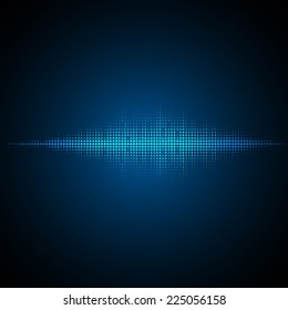 Sound waves oscillating on dark background. Vector illustration for club, radio, party, concerts or the audio technology advertising background.