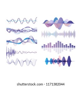 Sound waves set, audio digital equalizer technology, musical pulse vector Illustrations on a white background