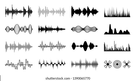 Sound waves set. Black digital radio musical wave. Audio soundtrack shapes. Player pulse amplitude forms isolated vector set