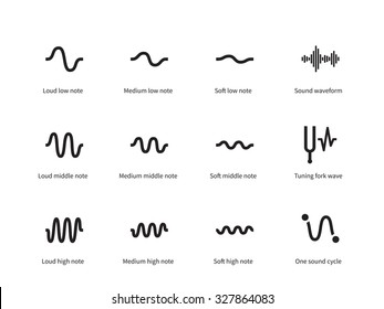 Sound waves set icons on white background. Vector illustration.