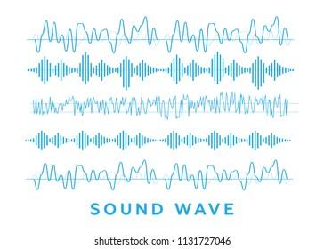 Sound waves set. Radio wave form vector
