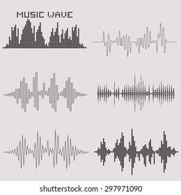Sound waves vector set. Music waves icons. Audio equalizer. Soundwaves isolated on background.
