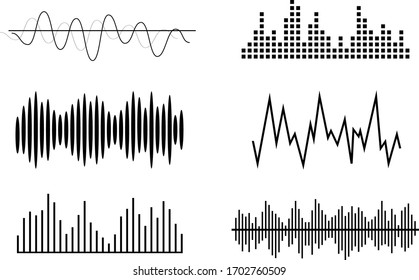 Sound waves, volume diagrams. Noise level charts, radio waves. Equalizer and recording concept. Vector