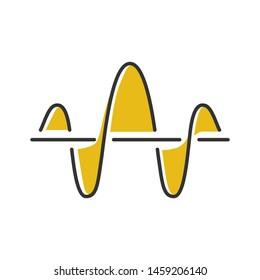 Soundwave color icon. Function and axis. Music rhythm frequency. Digital yellow sound, audio wave. Voice recording, radio signal sign. Vibration amplitude level. Isolated vector illustration
