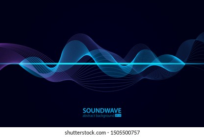 Soundwave vector abstract background. Music radio wave. Sign of audio digital record, vibration, pulse and music soundtrack.
