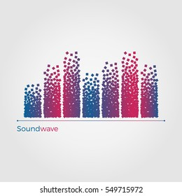 Soundwave vector illustration concept. Equalizer formed by small particles. Simple, but original. Isolated on white background.