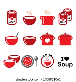 Soup in bowl, can and pot - food vector icon set, cooking, restaurant. Vector color icons collection of soup isolated on white design