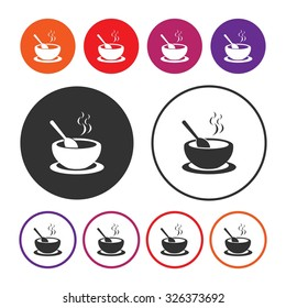 Soup icon. Hot soup icon. Bowl icon. Vector Illustration. EPS10