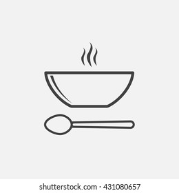 soup line icon, plate and spoon outline vector logo illustration, linear pictogram isolated on white