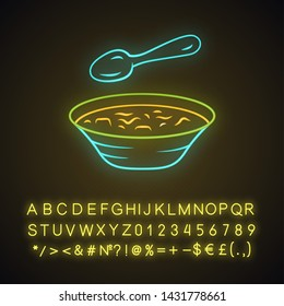 Soup neon light icon. Bowl and spoon, kitchenware. Hot steaming soup plate. First meal. Healthy diet. Nutritious meal. Glowing sign with alphabet, numbers and symbols. Vector isolated illustration