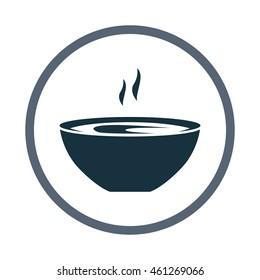 Soup in the plate simple icon on the background