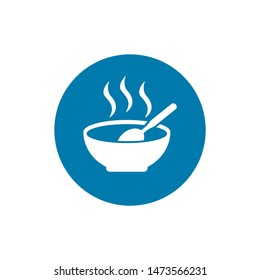 soup plate with steam hot lunch icon on white background