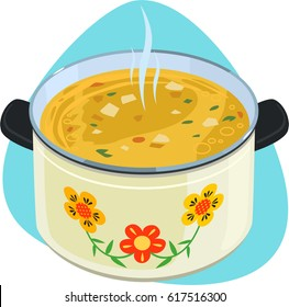 Soup pot. Enameled pot with with hot soup, black plastic handles and flower ornament. Isolated. On blue background.