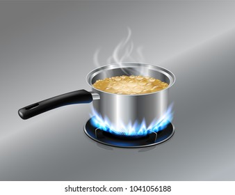 The soup pot with a handle is boiling on the gas stove. Stainless background. Realistic file.