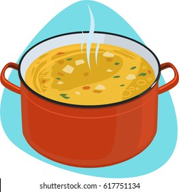 Soup pot. Red cooking pot with hot yellow soup. Isolated. On blue background.