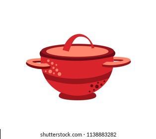 Soup saucepan icon. Flat illustration icon for web