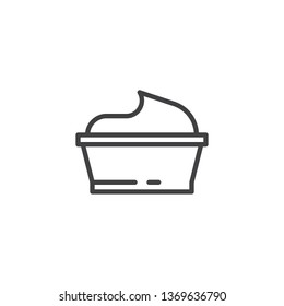 Sour cream bowl line icon. linear style sign for mobile concept and web design. Bowl of sour sauce mayonnaise outline vector icon. Dairy product symbol, logo illustration