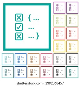 Source code checking flat color icons with quadrant frames on white background