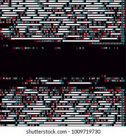 Source code with fatal programming error. Ascii glitch background. Futuristic illustration about computer security.