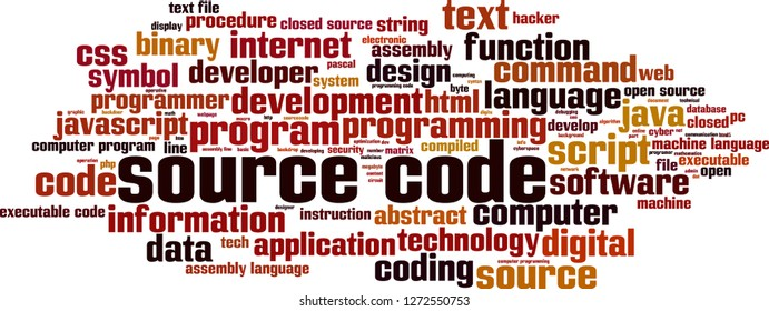 Source code word cloud concept. Vector illustration