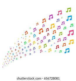 Source of music notes symbols. Vector illustration style is flat bright multicolored iconic music notes symbols on a white background. Object fountain organized from pictograms.