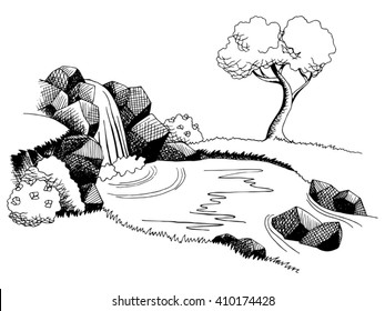 Source waterfall graphic art black white landscape illustration vector