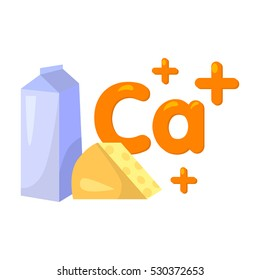 Sources of Calcium icon in cartoon style isolated on white background. Dental care symbol vector illustration.