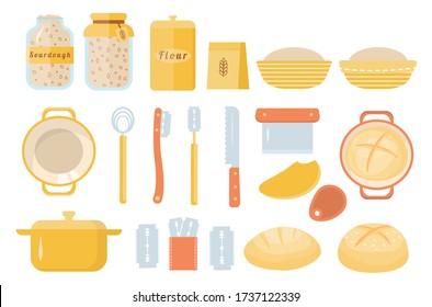 Sourdough bread home baking set of icons. Sourdough starter culture in mason jar. Muslin cloth. Dough scraper. Danish whisk. Proofing basket. Bench knife. Bread Lame. Dutch oven. Vector cartoon flat.