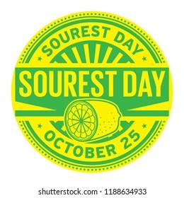 Sourest Day, October 25, rubber stamp, vector Illustration