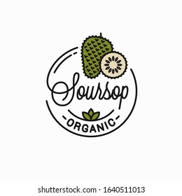 Soursop fruit logo. Round linear logo of soursop slice on white  background