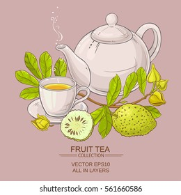 soursop tea vector illustration