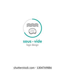 Sous vide cooking logo in premium design. Business icon for slow cooking sous vide restaurants and bars.