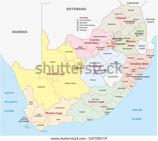 Etela Afrikka Hallinnollinen Kartta Maakunnat Ja Piirit