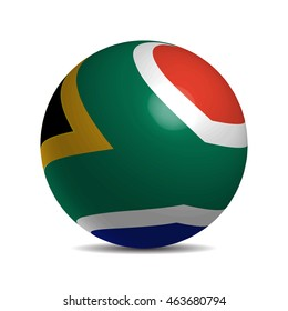 South Africa flag on a 3d ball with shadow