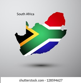 South Africa flag on map of country