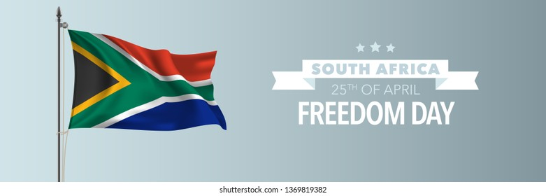 South Africa happy freedom day greeting card, banner vector illustration. South African national holiday 25th of April design element with waving flag on flagpole